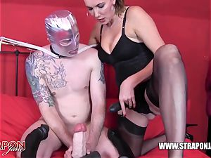 insane victim gagging and pounding femdoms ample strap-on pink cigar