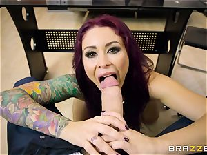 Mature tatted secretary Monique Alexander with phat tits entices her chief and inhales his trunk