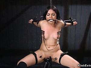 brunette submitted with head in a cell