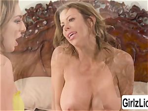 Tiffany Watson and busty Alexis Fawx drains their cooters and bursts