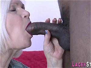 grandmother deep-throats big black cock