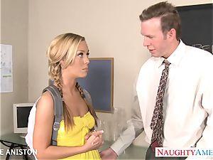 ponytailed Nicole Aniston inhale stiffy in classroom