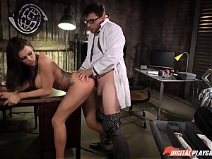 black-haired Peta Jensen hammered in the lab