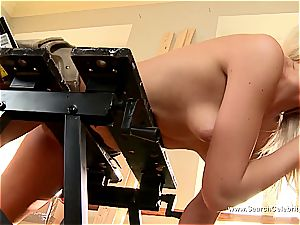 nice blonde Andrea Francis deepthroating man meat with her orbs out