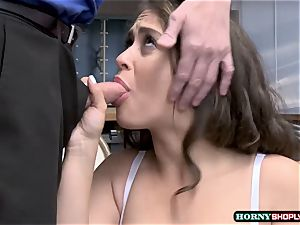 nubile Ziggy star gets idolized by two officers enormous schlong in the office