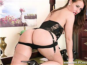 brunette secretary strokes on desk in lingerie and nylons