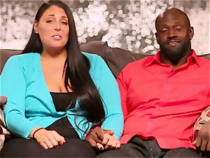 interracial couple calls upon a dark pal to come over for sizzling threeway