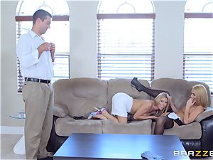 Alexis Fawx and Abby Cross drilled by draped spanish fuckpole