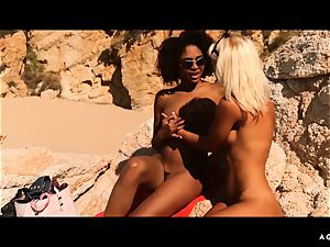 A chick KNOWS - Outdoor girl-on-girl lovemaking with stellar babes
