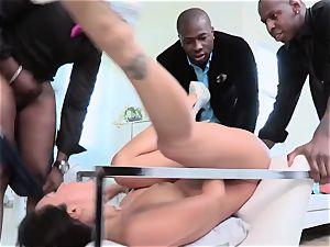 asian pornography starlet Asa Akira takes four giant black pricks in her deep hatch