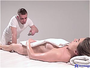 super-hot massage turns to sensuous fuck-fest and this brunette queen loves it