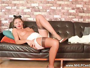 classy mummy jerks in underwear garters high heels nylons