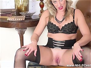 platinum-blonde finger romps raw cunny in girdle vintage nylons