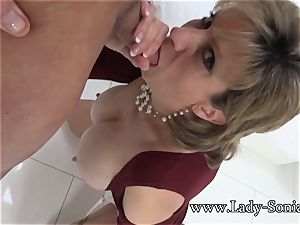 nymph Sonia Mature honey greased Up And deepthroating spunk-pump