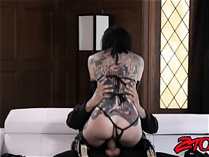 tattooed victim Joanna Angel dominated with wood and fed jism