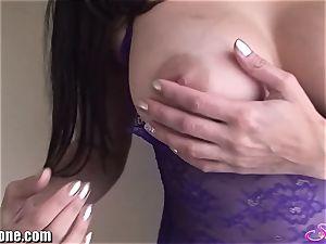 SunnyLeone Sunny Leone in cool purple undergarments