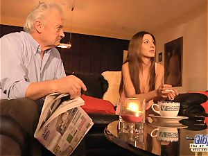 grandfather is ravaged by cute girl in News vs Romantic