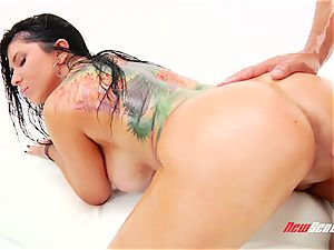 naughty sultry mexican pornography starlet Romi Rain gets her big lubricated cupcakes titfucked