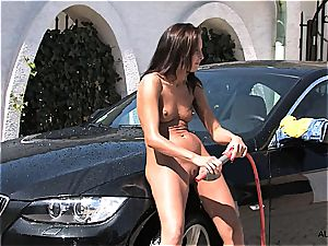 playing with her lil' fanny in a car cleaning screenplay