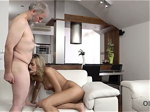 OLD4K. sweetheart takes part in passionate hook-up with splendid aged daddy