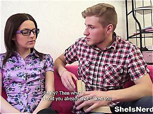 Big-headed college teenager gets spunk on her glasses