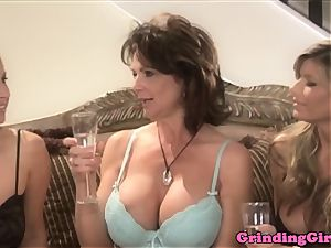 Glam lesbos strap dildo ass fucking in kitchen