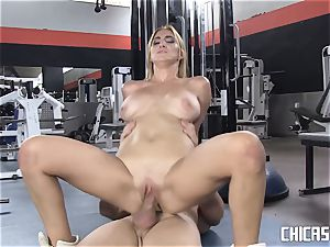 Chicas Loca - buxom Latina humped at the gym