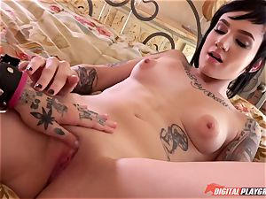 tatted goth rock dolls Leigh Raven and Nikki Hearts toying with their fresh orgy plaything