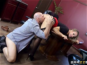 steamy boss Nicole Aniston taking a large wood in the office