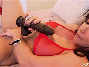 fitness mom milf orgasms WITH massive dark-hued dildo