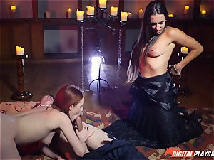 jism drinking three way with fabulous Ella Hughes and super-sexy honey Mea Melone