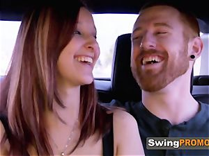 Swinger couples take a dip in the pool as they meet and greet