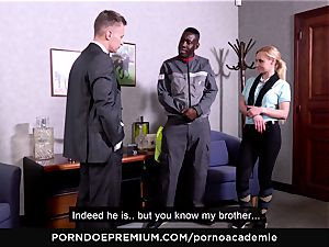 porno ACADEMIE - buttfuck threesome with light-haired college girl