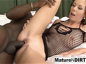dark-haired mummy masturbates before taking a big black cock