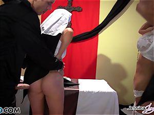 crazy nuns Jessica Jaymes and Nikki Benz pleasuring gods wishes