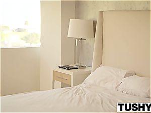 TUSHY stunning dark-haired Aidra Fox double plumbed