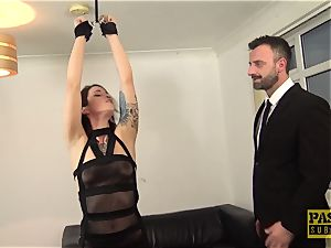 uber-sexy brit scum gagged and dommed by huge dick