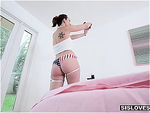 tiny step-sister Jade Nile wants her bro to jism on her glazed funbags